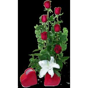 Corazon Rojo 6 roses