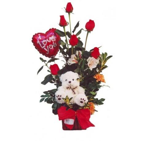 Calido amor 6 rosas