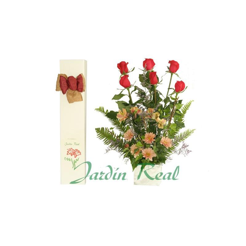 Caja Jardín Real 6 rosas